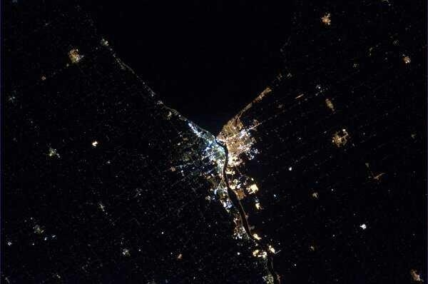 Photo of Sarnia from space. Taken by Chris Hadfield aboard the International Space Station 2013.