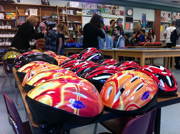 Students at King Edward Public School learn about helmet safety on March 6th, 2013.
