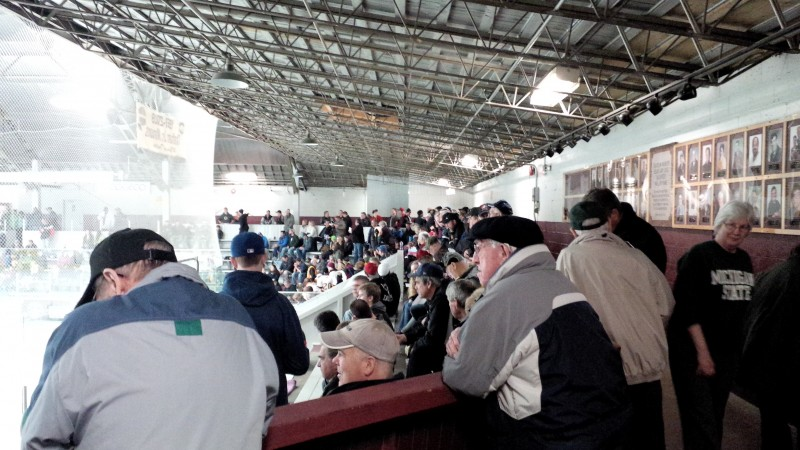 Fans watch on at Chatham Memorial Arena.