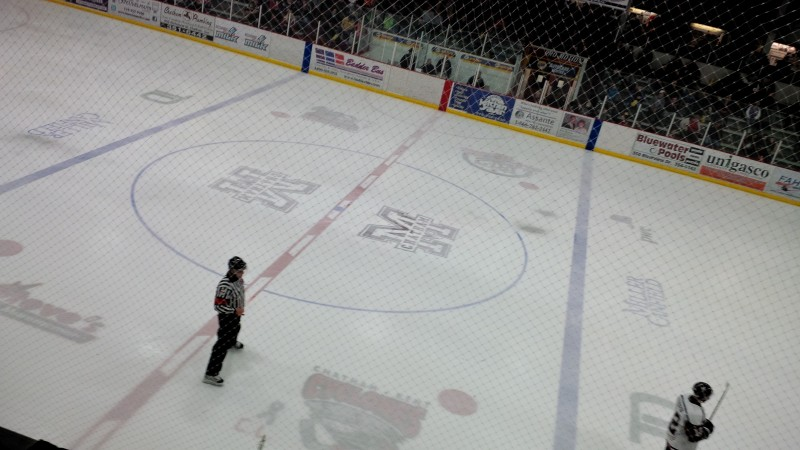 Centre ice at Chatham Memorial Arena.