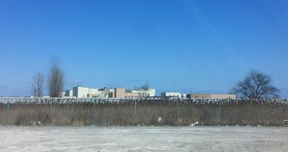 The view of the new jail being built in Windsor, from the other side of Hwy. 401. April 5, 2013.