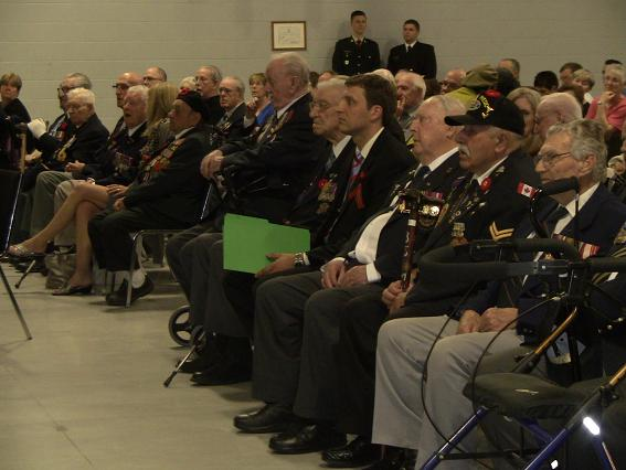 Veterans honoured during a ceremony at the Major F.A. Tilston Armoury in Windsor, May 9, 2013.