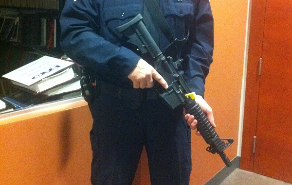The carbine rifle to be placed in all front-line Windsor Police Service vehicles. BlackburnNews.com file photo.