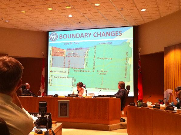 Trustees at the Greater Essex County District School Board discuss a few of the school boundary changes to be made in the Belle River area, June 18, 2013.