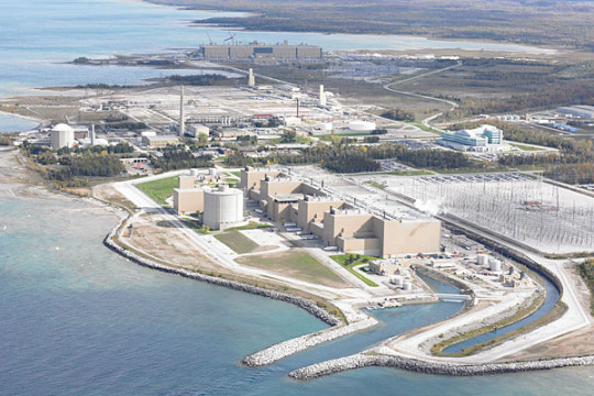 Aerial photo of the Bruce Power Plant near Kincardine