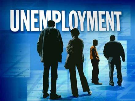 """line-up of workers under the graphic """"unemployment"""""""