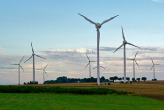 Wind turbines in farm field