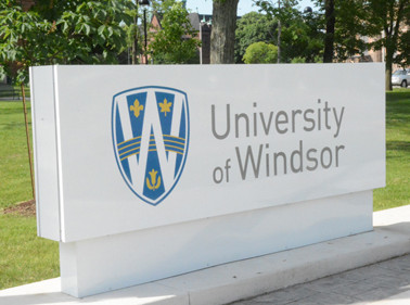 new University of Windsor sign with new logo