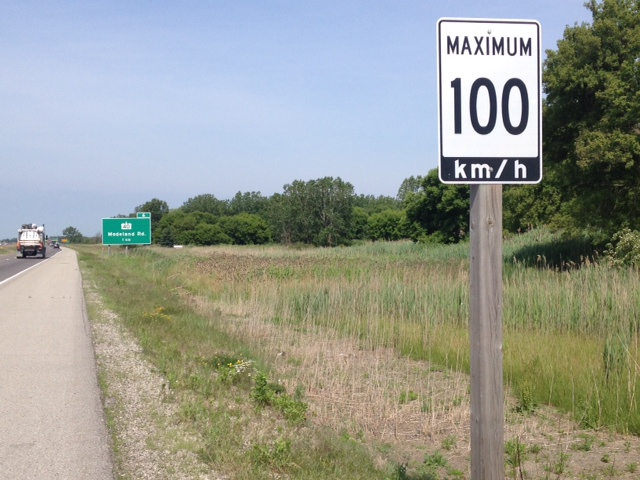 Speed limit on HWY 402 approaching Modeland Rd. in Sarnia. BlackburnNews.com file photo.