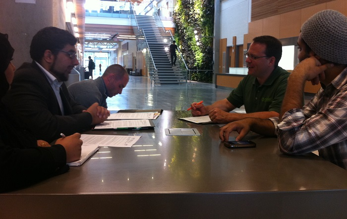 Ontario Green Party Leader Mike Schreiner and Windsor-Tecumseh candidate Adam Wright, visit with members of the UWSA at the Ed Lumley Cenre for Engineering Innovation,