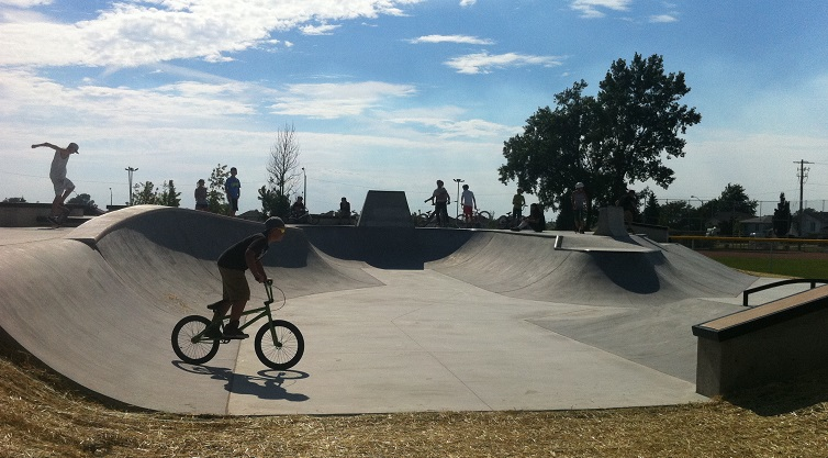 Users enjoying the new skate park in Tecumseh, located behind the Town Hall building off Lesperance Rd.