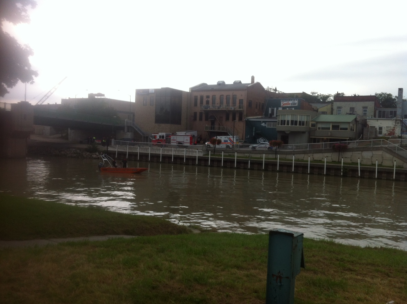 Police search the Thames River.