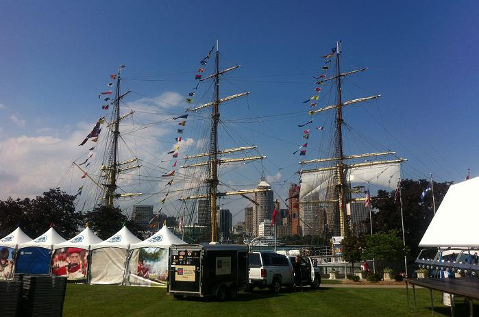 A tall ship docks in front of Dieppe Park in Windsor, August 29, 2013.