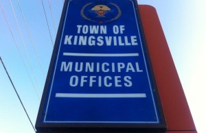 The Town of Kingsville sign outside town hall. (BlackburnNews.com file photo.)