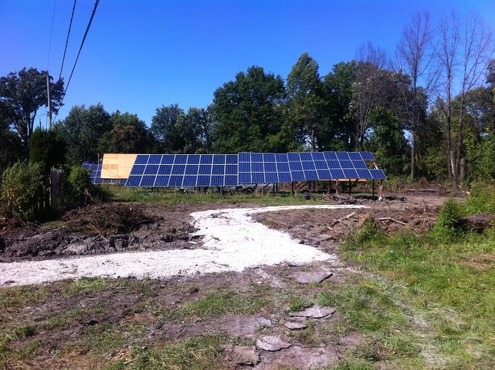 The site of solar panels, constructed over the Labour Day weekend, along Longfellow Ave. in Windsor. (photo taken, September 4, 2013)