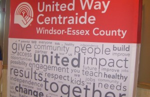 United Way Windsor-Essex County back drop.