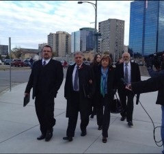 Joe Fontana, his wife and lawyers arrive at court