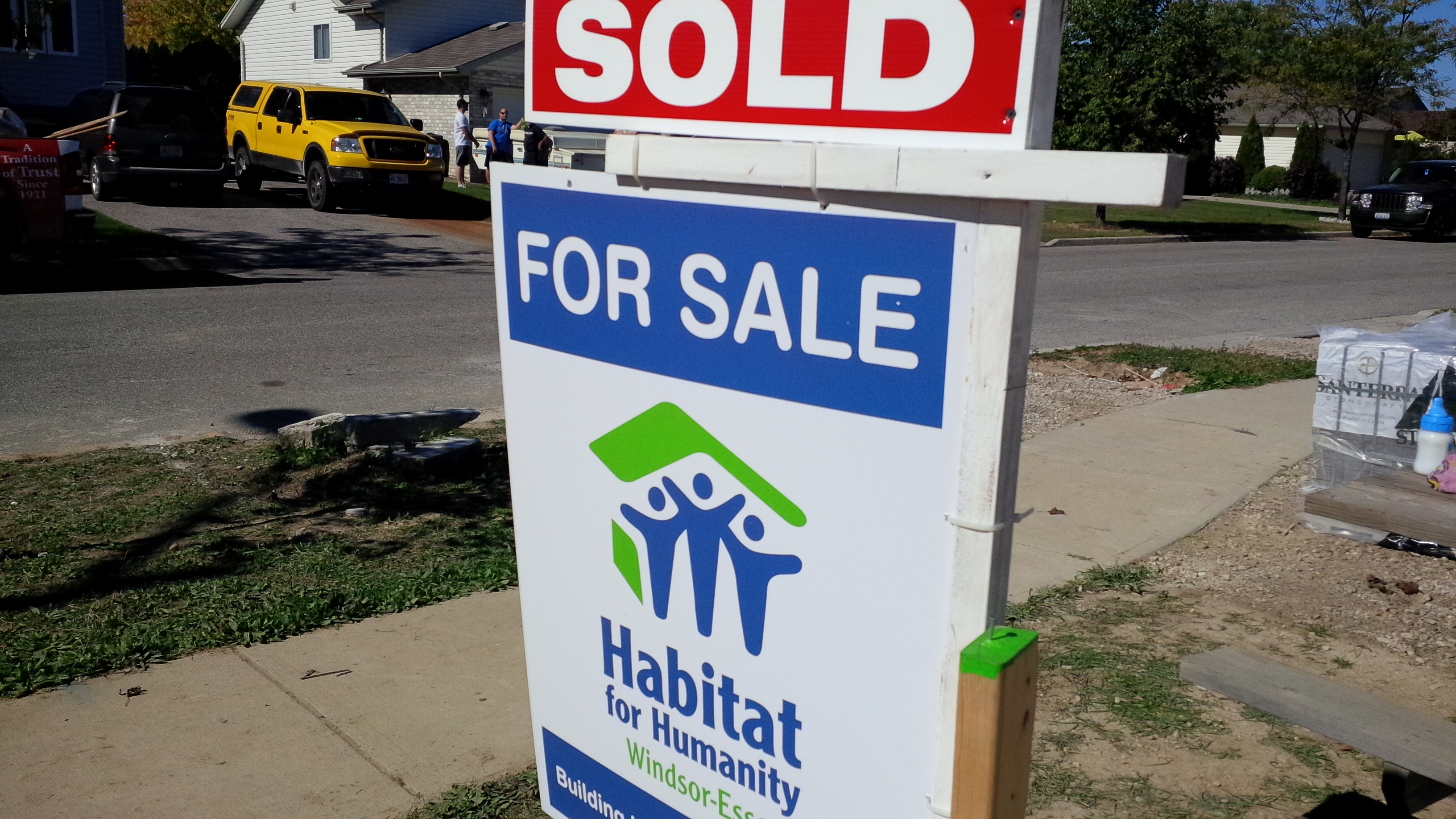 Habitat for Humanity sign outside a home in LaSalle.