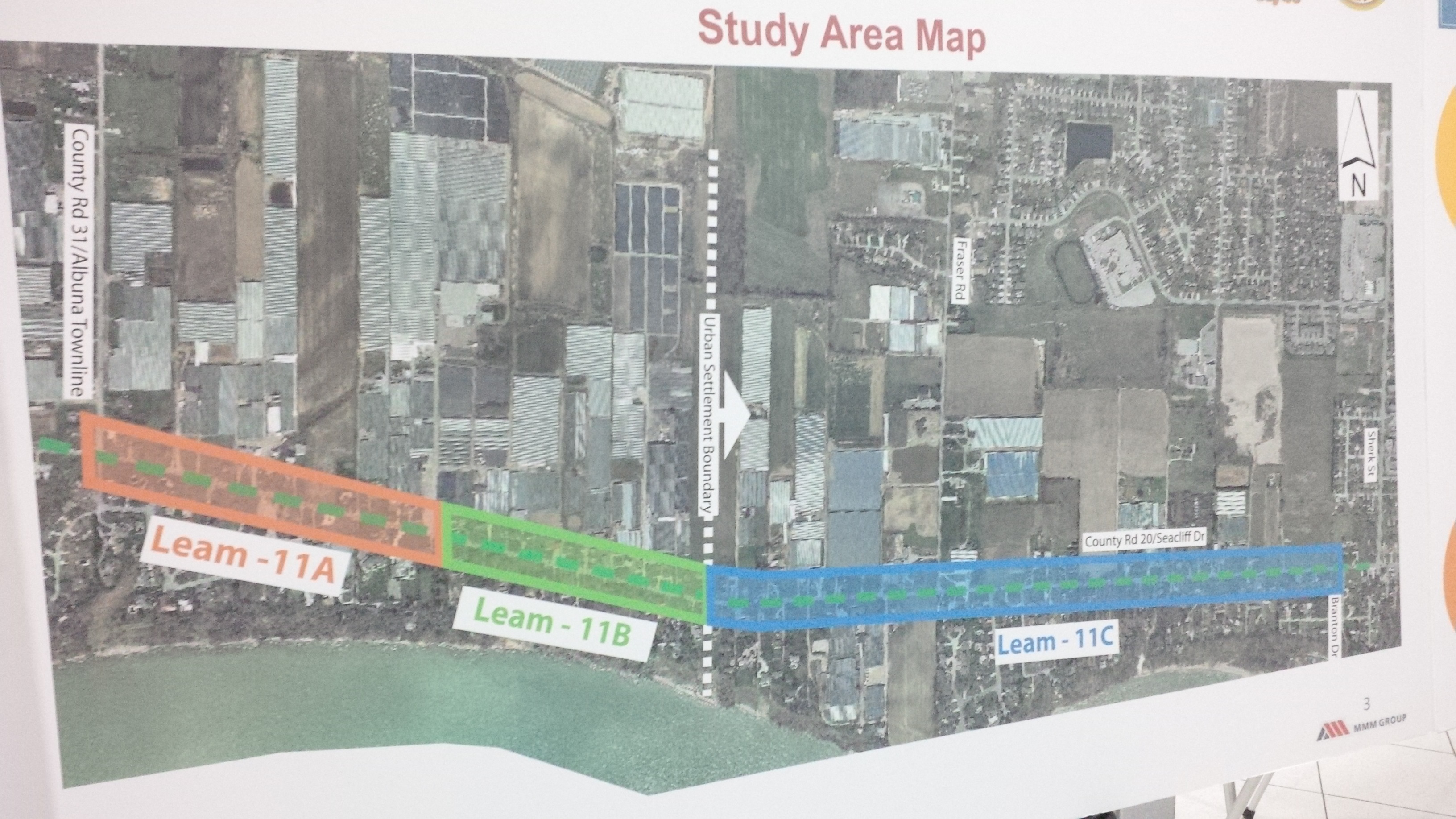 A map of the study area for a trail project along Seacliff Dr. (County Rd. 20) in Leamington being considered as part of the County Wide Acitve Transportation Study initiative. (Photo by Ricardo Veneza)
