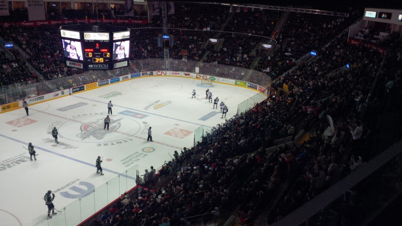 The Windsor Spitfires celebrate a goal by forward Brady Vail in their game against the London Knights on November 10, 2013 at the WFCU Centre.
