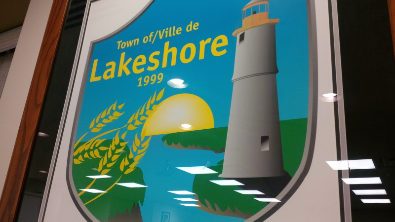 The Town of Lakeshore crest sits behind the council table at the municipal building in Belle River. (Photo by Ricardo Veneza)