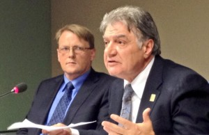 Joe Fontana talks 2014 budget at City Tresurer Martin Hayward looks on.