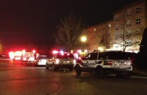 Emergency crews respond to a fire in an apartment unit on Ypres Ave, December 5, 2013. (Photo courtesy of Leo Lemire via Twitter.)