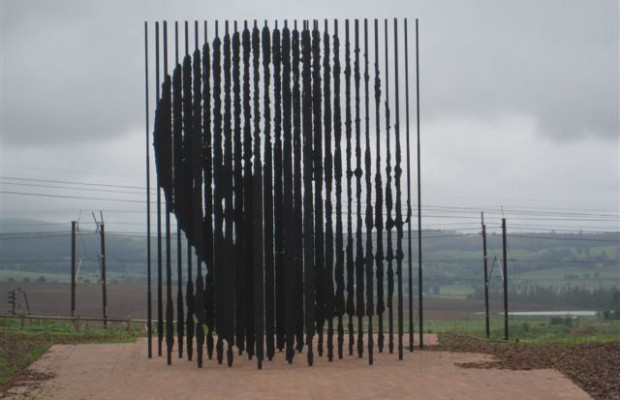 Tribute art installation to Nelson Mandela using steel rods symbolizing his 27 years in prison