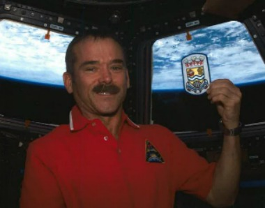 Sarnia born astronaut Chris Hadfield shows off a Sarnia patch while in space. Submitted photo.