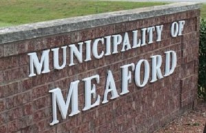 Meaford sign - brick wall