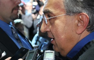 Chrysler CEO Sergio Marchionne speaks with the media after his company's unveiling of the Chrysler 200 series at Detroit's NAIAS 2014.