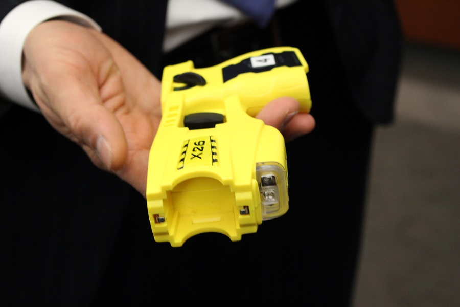 The conducted energy weapon (Taser) used by the Windsor Police Service.
