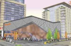 "A draft image of the proposed ""Celebration Centre"" if it were to be built on the site of the current Centennial Hall."