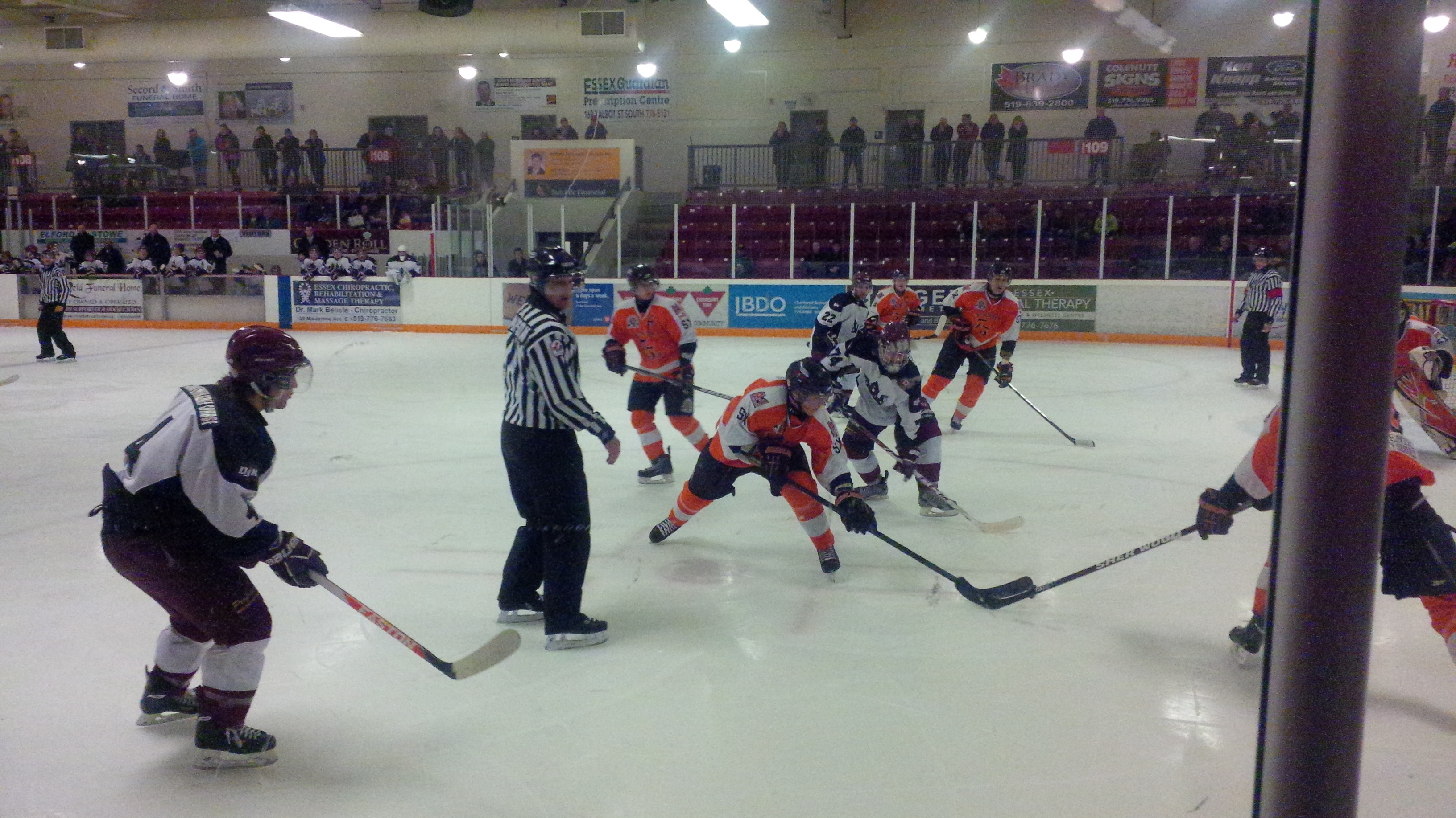 The Dresden Junior Kings and Essex 73's face off at Essex Memorial Arena. Photo taken February 4, 2014. (Ricardo Veneza)