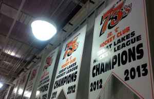 Essex 73's championship banners hanging from the rafters of the Essex Memorial Arena.