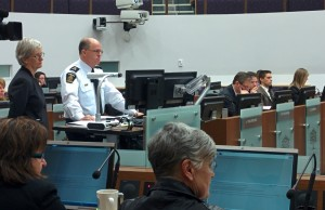 Police Chief Brad Duncan answers committee questions while Police Services Board Chair Jeannette Eberhard stands by.