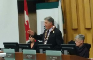 Joe Fontana speaks to council after relinquishing the meeting chair's seat.
