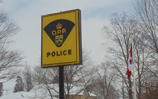 OPP sign and flag (winter)