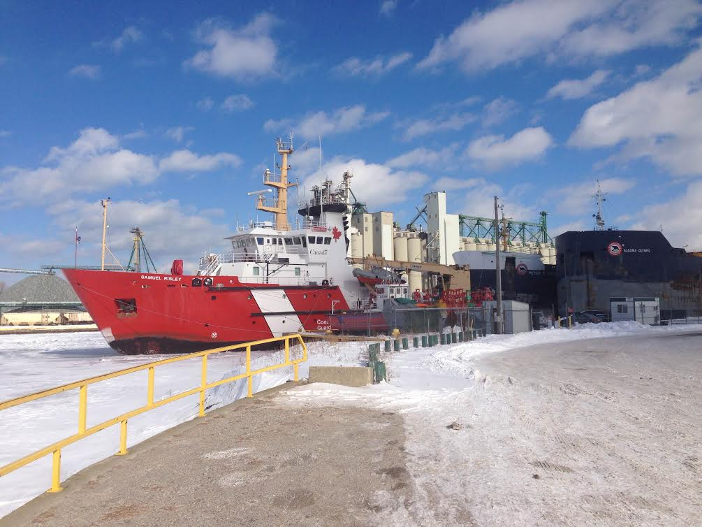 BlackburnNews.com photo of Canadian Coast Guard icebreaker Samuel Risley at Sarnia's government dock, January 29, 2014. (Photo by Melanie Irwin)