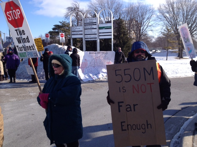 Protesters gather outside Sarnia courthouse in support of the Town of Plympton-Wyoming during their lawsuit with Suncor, February 26, 2014. (Photo by Melanie Irwin)