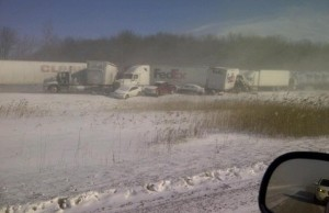 Multi-vehicle pile-up on Highway 402 at Oil Heritage Rd. February 27, 2014. (Photo by Holly Mayea)