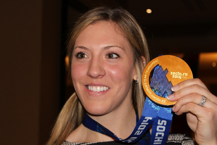 Meghan Agosta-Marciano with gold medal from Sochi.
