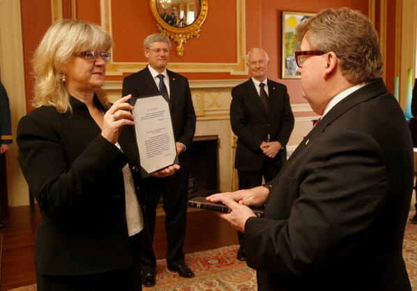 Photo of Ed Holder being sworn in as Minister of State (Science and Technology) on March 19, 2014. Photo from Stephen Harper's (@pmharper) Twitter account.