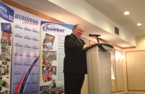 MPP Bob Bailey speaks at Chamber of Commerce Luncheon. March 28, 2014. Photo by Chelsea Vella.
