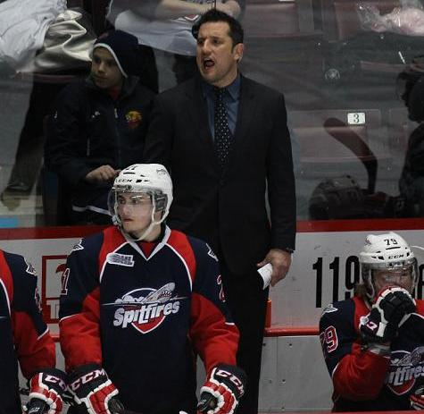 Windsor Spitfires Head Coach Bob Boughner behind the bench, March 6, 2014.