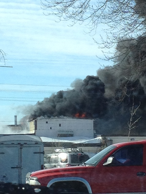 A fire at HB in Wallaceburg, March 17, 2014. (Photo submitted by Heather Blake)