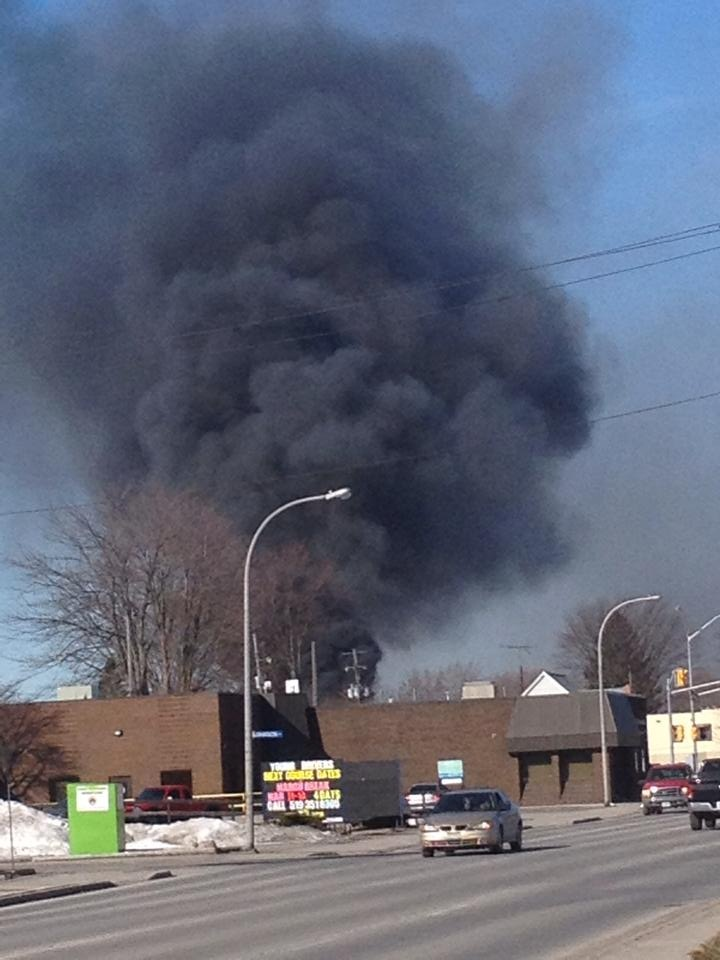 A fire at HB in Wallaceburg, March 17, 2014. (Photo submitted by Amy Dramnitzke)