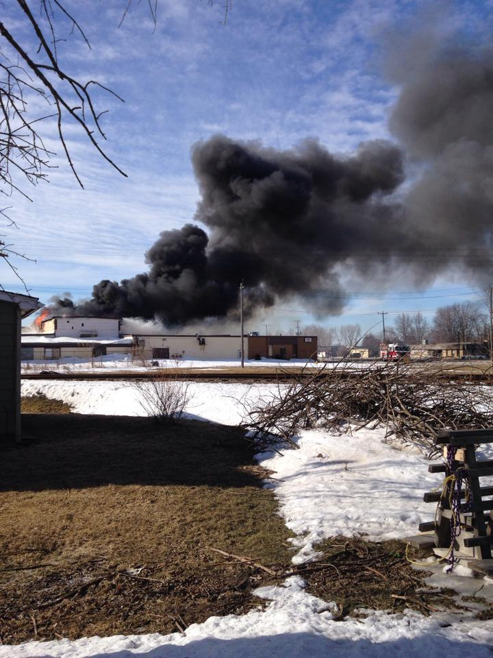 A fire at HB in Wallaceburg, March 17, 2014. (Photo submitted by Shannon Houle)