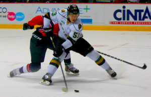London Knights forward Bo Horvat breaks in on the Windsor Spitfires net during the third period of game four, March 27, 2014. (Photo by Mike Vlasveld)
