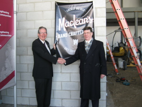 Left: Minister of Rural Affairs Jeff Leal Right: Brew-master Charles MacLean on site at new state-of-the-art MacLean Ales brewery, being built in Hanover.